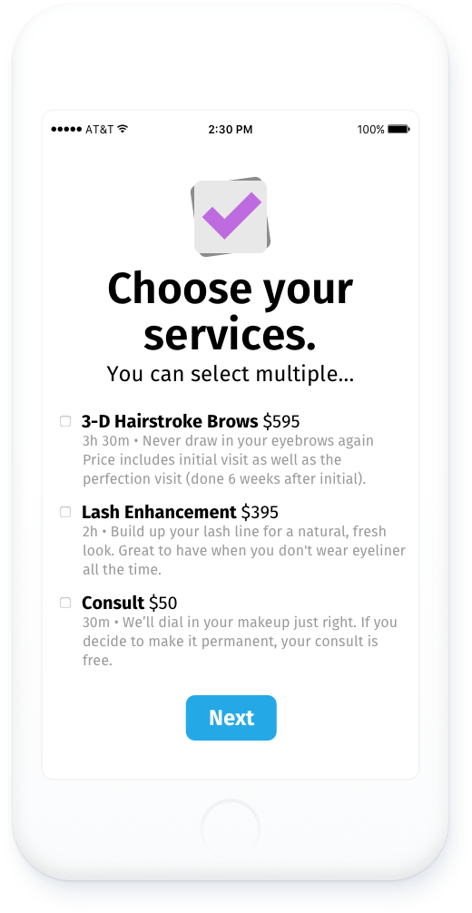 image of what Hummingbook's client scheduler's first screen looks like for clients: a clean list of services with their corresponding prices, descriptions, and checkboxes